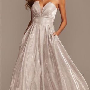 Glittery Strapless Ballgown With Illusion Plunge